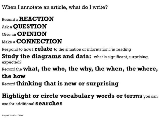 Annotating Text Strategies