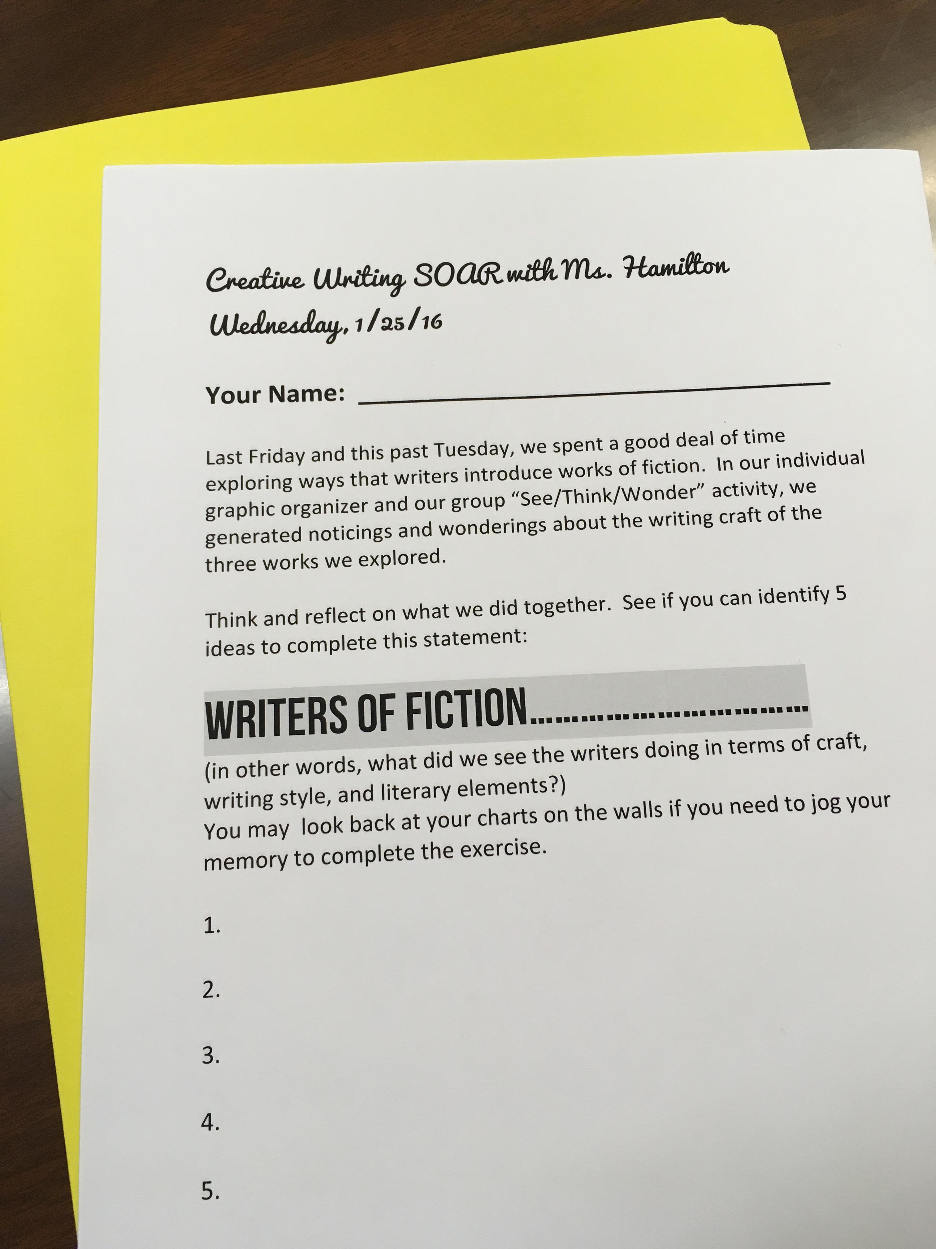 creative writing club ideas
